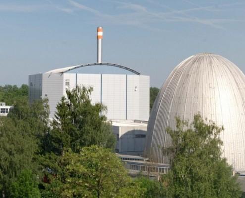 Ansicht des FRM II und Atom-Ei